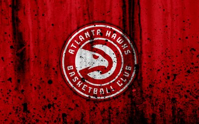 Atlanta Hawks, 4k, grunge, NBA, basketball club, Eastern Conference, USA, emblem, stone texture, basketball, Atlanta Hawks logo