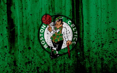 Boston Celtics, 4k, grunge, NBA, basketball club, Eastern Conference, USA, emblem, stone texture, basketball, Boston Celtics logo