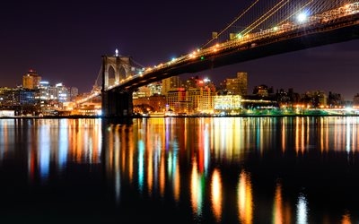 Brooklyn Bridge, NYC, nightscapes, New York, America, USA