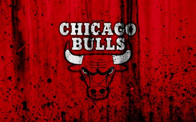 Chicago Bulls, 4k, grunge, NBA, basketball club, Eastern Conference, USA, emblem, stone texture, basketball, Central Division