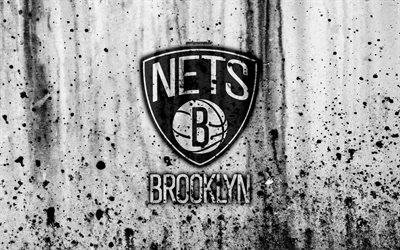 Brooklyn Nets, 4k, grunge, NBA, basketball club, Eastern Conference, USA, emblem, stone texture, basketball, Atlantic Division