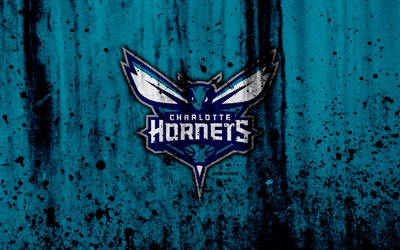 Charlotte Hornets, 4k, grunge, NBA, basketball club, Eastern Conference, USA, emblem, stone texture, basketball, Southeast Division