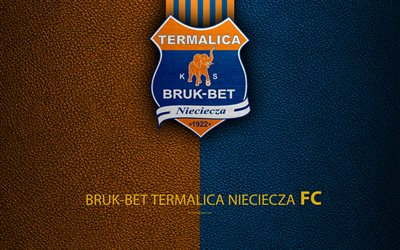 Bruk-Bet Termalica Nieciecza FC, 4k, football, emblem, logo, Polish football club, leather texture, Ekstraklasa, Nieciecza, Poland, Polish Football Championships