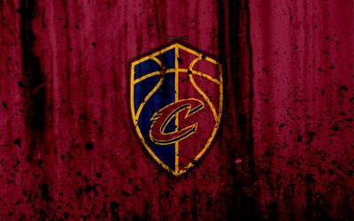4k, Cleveland Cavaliers, grunge, NBA, basketball club, Eastern Conference, USA, emblem, stone texture, basketball, Central Division