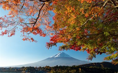 Fuji, mountain, Japan, autumn landscape, mountains, Fujiyama, stratovolcano, Honshu