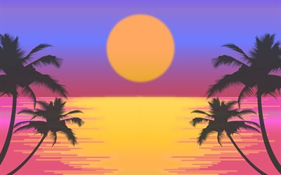 4k, sunset, sea, palms silhouettes, palms tree