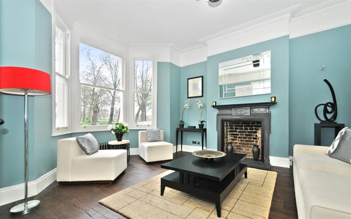 4k, Living Room, Blue Design, Old Apartment, Blue Room, Interior Idea