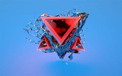 triangles, 3d art, geometric shapes, creative, blue background, geometry