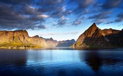 Lofoten islands, 4k, mountains, sea, Norway, Europe