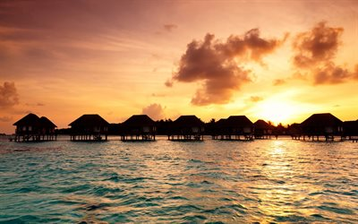 sunset, Maldives, ocean, tropical islands, bungalows over the water, palm trees, beach