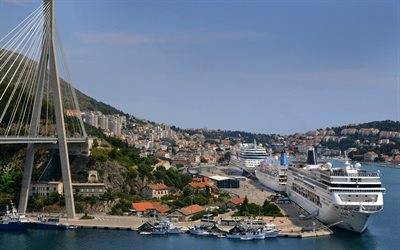 Dubrovnik, Franjo Tudjman Bridge, resort, passenger liner, city panorama, Croatia