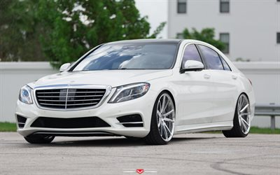 Mercedes-Benz S550, w222, 2017, luxury white sedan, tuning w222, Vossen Wheels, Mercedes-Benz S-Class