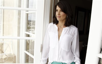 Cobie Smulders, Canadian actress, 4k, portrait, white shirt, beautiful woman, photoshoot, fashion model