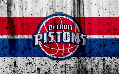 4k, Detroit Pistons, white background, NBA, grunge, basketball club, Eastern Conference, USA, emblem, The Pistons, stone texture, basketball, Central Division