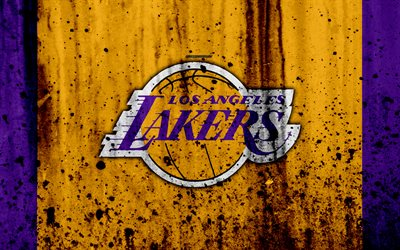 4k, Los Angeles Lakers, grunge, NBA, basketball club, LA Lakers, Western Conference, USA, emblem, stone texture, basketball, Pacific Division