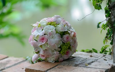 wedding bouquet, pink roses, bride bouquet, beautiful flowers