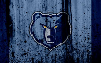 4k, Memphis Grizzlies, grunge, NBA, basketball club, Western Conference, USA, emblem, stone texture, basketball, Southwest Division