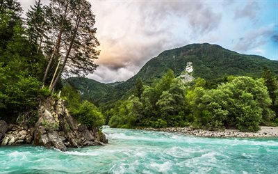 mountain landscape, forest, mountain river, mountains, Alps, Slovenia, Bovec