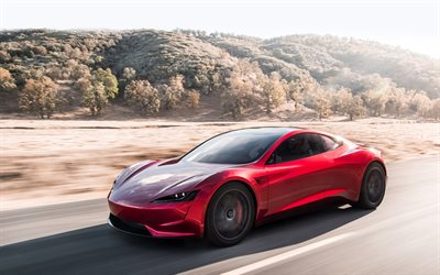 Tesla Roadster, 2020, sports coupe, red Tesla, electric car, side view, American electric cars, Tesla