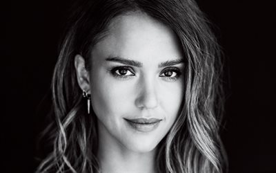 Jessica Alba, 4k, American actress, monochrome, portrait, face, fashion model