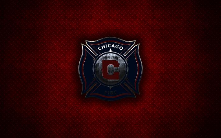 Download Wallpapers Chicago Fire Fc 4k Metal Logo Creative Art