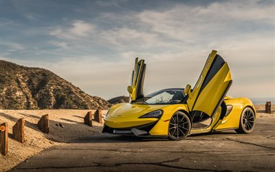 McLaren 570S, 2018, yellow supercar, front view, exterior, new yellow 570S, luxury cars, British sporcars, McLaren