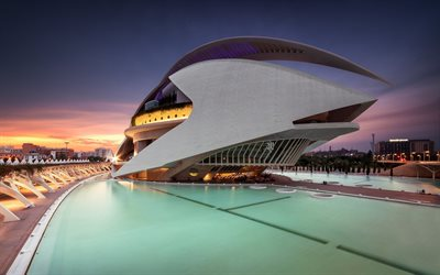 City of Arts and Sciences, Valencia, architecture complex, modern architecture, evening, sunset, landmark, Spain