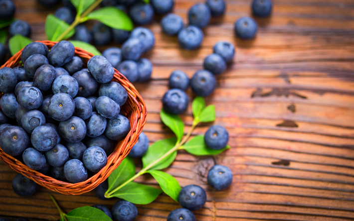 4k, blueberries, close-up, fresh fruits, berries, basket of berries, fruits