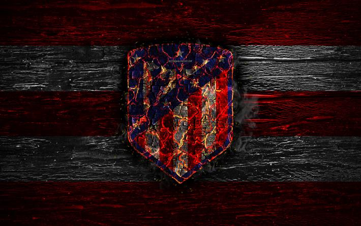 Herunterladen Hintergrundbild Atletico Madrid Fc Feuer Logo