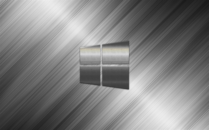 Windows 10, metal logo, art, gray metallic background, steel texture, emblem