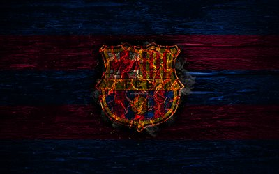 Barcelona FC, fire logo, LaLiga, blue and purple lines, spanish football club, grunge, Barca, football, soccer, logo, Barcelona, wooden texture, Spain