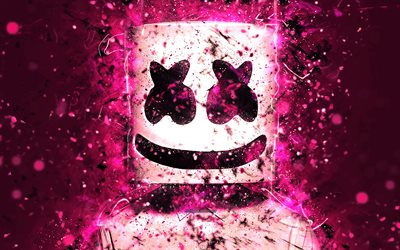 4k, DJ Marshmello, rosa neón, american DJ, Christopher Comstock, obras de arte, superestrellas, fan art, DJs