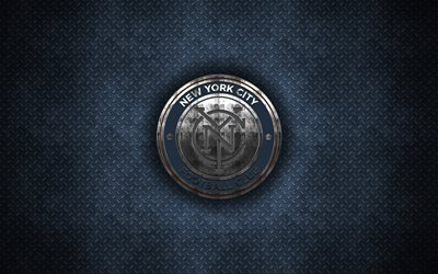 New York City FC, 4k, metal logo, creative art, American soccer club, MLS, emblem, blue metal background, New York, USA, football, Major League Soccer