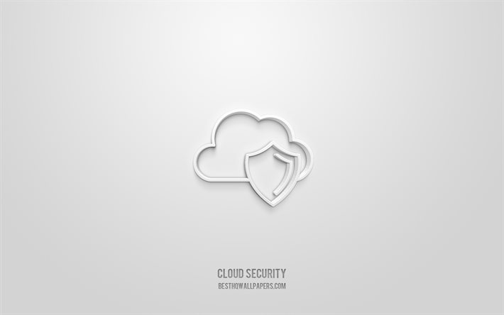 Cloud security 3d icon, white background, 3d symbols, Cloud security, creative 3d art, 3d icons, Cloud security sign, Network 3d icons