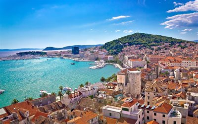 Split, Croatia, Adriatic sea, summer, resort, Split cityscape, Split panorama, Croatian resorts, Dalmatia
