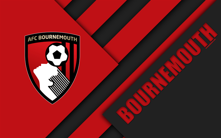 Download Wallpapers Bournemouth AFC, Logo, 4k, Material