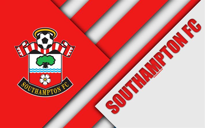 Download Wallpapers Southampton FC, Logo, 4k, Material
