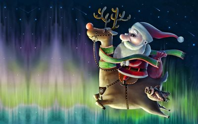 Santa claus on deer, Happy New Year, new years eve, santa claus, gifts, northern lights, flying santa claus