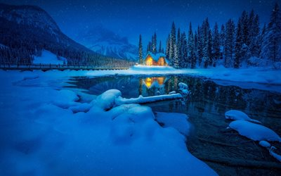 Emerald Lake, winter landscape, snow, forest, mountains, christmas, winter, Canadian Rocky Mountains, British Columbia, Canada