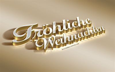 frohliche weihnachten, golden 3d art, merry christmas in german, greetings in german, golden christmas background, creative art, germany