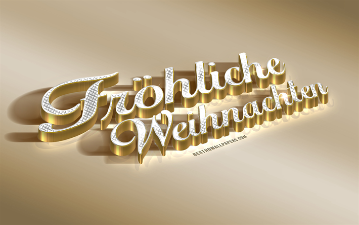 Frohliche Natale, golden 3d, Merry Christmas in Italian, greetings in Italian, golden Christmas background, creative art, Germany