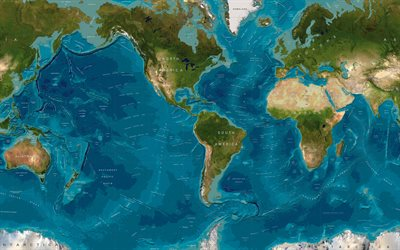 World map, continents and oceans, relief, geographical map of the world, Earth, geography