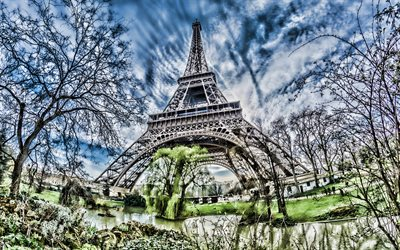 Eiffel Tower, HDR, autumn, french landmarks, Paris, France, Europe