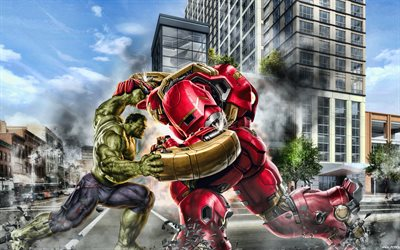 Hulkbuster vs Hulk, battle, superheroes, 3D art, Hulkbuster, Hulk