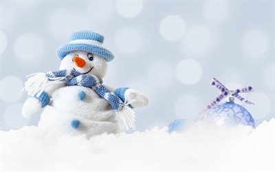 snowman, blue christmas ball, winter, snow, christmas, new year, winter background