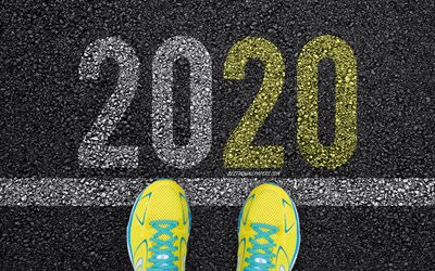 2020 New Year, asphalt, sports shoes, start of 2020, Happy New Year 2020, 2020 concepts, Happy New Year