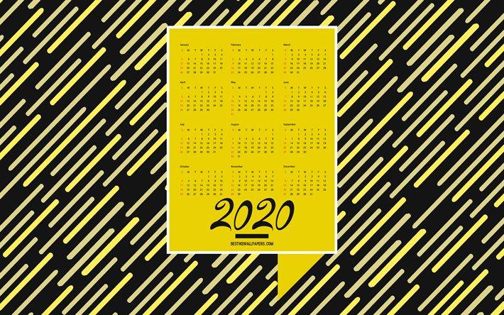 Download Wallpapers 2020 Yellow Black Calendar 2020
