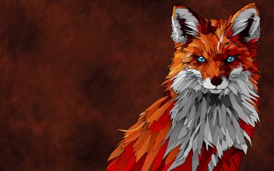 Fox, mosaic, creative, art, predators