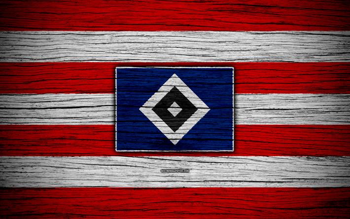 Download wallpapers Hamburger, 4k, Bundesliga, logo, HSV, Germany, wooden texture, FC Hamburger ...