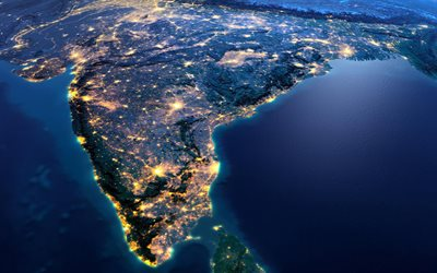 India, continent, view from space, Earth, planet, India from space